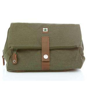 Hemp Travel Wash Bag / Toiletries Bag - Army Khaki