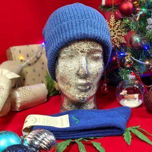 Organic Beanie Hat and Socks Gift Set - Blue