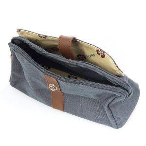 Hemp Cosmetics Case / Pencil Case - Slate Grey (Inside)