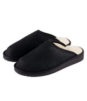 Organic Hemp & Merino Wool slippers - Black, Grass