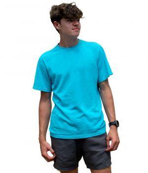 Hemp Short Sleeve T Shirt - Bahama Blue (model with 100% hemp shorts)
