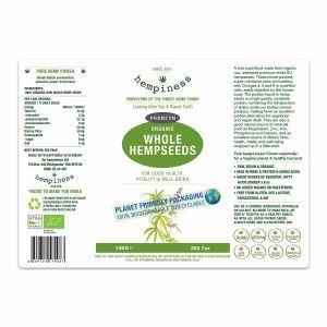 Hempiness Organic Premium Whole Hemp Seed 10kg Label