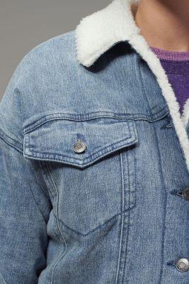 Hoodlamb Ladies Sherpa Lined Denim Jacket