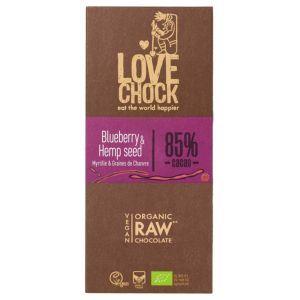 Lovechock hemp blueberry vegan chocolate bar