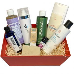 Nature's Gift - Relax and Pamper CBD Bath Box - comes in a red presentation box with wood wool
