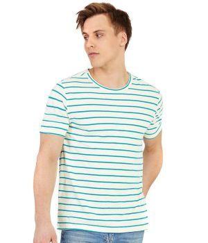 Mens Organic Striped Hemp T-Shirt - Natural/Teal