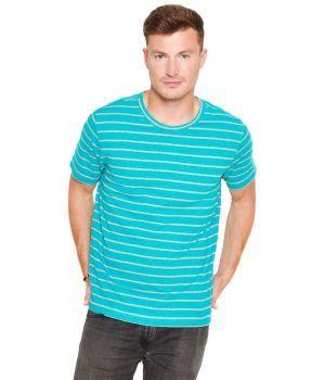 Mens Organic Striped Hemp T-Shirt - Teal/Smoke Grey