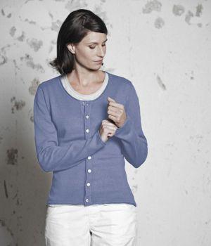 Eco Friendly Recycled Hemp Womens Cardigan - Lavender (on Model)