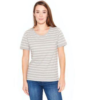 Womens Organic Striped Hemp T-Shirt- Smoke Grey/Natural