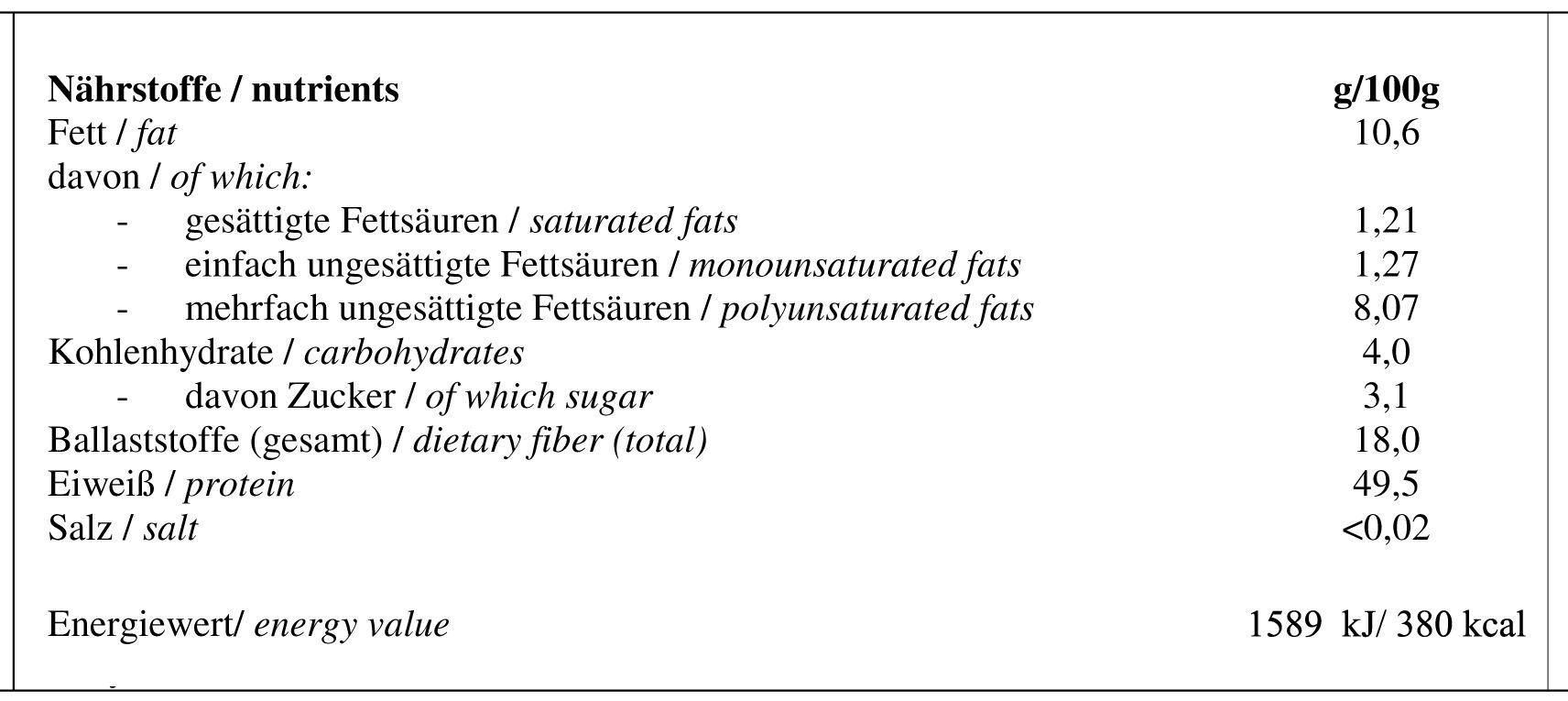 Hempiness Organic Protein Powder Nutrition