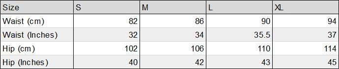 Hemp Shorts Size Chart