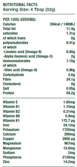 Hempiness Organic Protein Powder Nutrition Breakdown