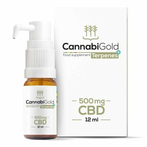 CannabiGold CBD Oil 500mg 12ml Packaging and Pump Bottle