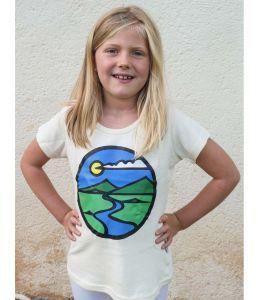 Organic Mountain Print Hemp Girls T-shirt - Age 10-11