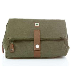 Hemp Travel Wash Bag / Toiletries Bag - Army Khaki
