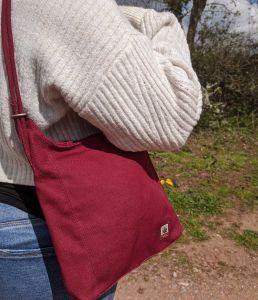 Hemp Handbag / Backpack - Rosewood Red (On person - closeup)