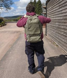 Organic Hemp Eco-Friendly Outdoor Backpack - Khaki (On person)
