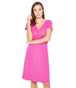 Organic Hemp V Neck Jersey Dress - Raspberry Pink