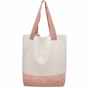 Recycled Hemp Tote Bags / Shopping Bags - White/Pink