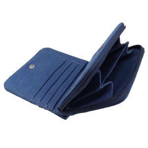 Hempiness Bi-Fold Hemp Wallet Open - Ocean Blue