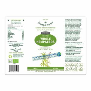 Hempiness Organic Premium Whole Hemp Seed 5kg Label