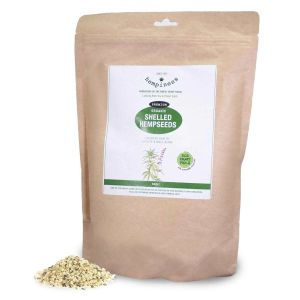 Hempiness Organic Premium Shelled Hempseeds 1kg - with pile of loose hemp hearts