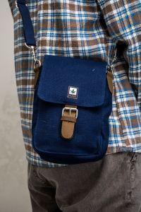 Organic Hemp Medium Shoulder Bag - Navy Blue