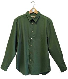 Classic Cut Men's Collared Shirt Hemp & Cotton Shirt - Green