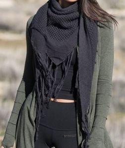 Hemp Triangle Tassel Scarf - Black