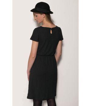 Organic Hemp V Neck Jersey Dress - Obsidian Black