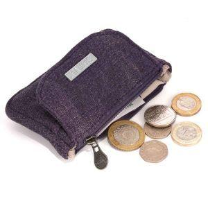 Sustainable Organic Hemp Canvas Coin Purse - Deep Purple - With Coins