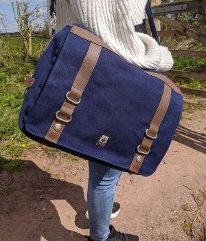 Hemp College Messenger Bag Satchel - Blue (On person - closeup)