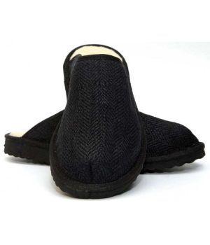 Organic Hemp & Merino Wool slippers - Black, Pair