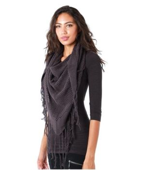 Hemp Triangle Tassel Scarf - Grey