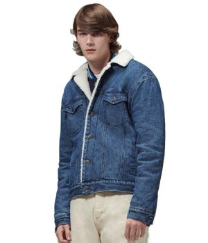 Hoodlamby by Hemp Tailor Mens Sherpa Lined Denim Jacket