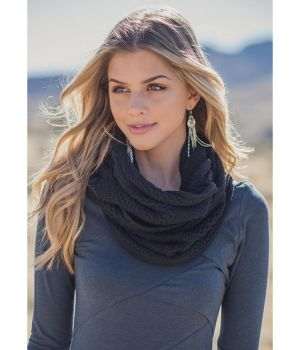 Hemp Loop Knit Scarf - black