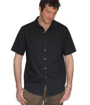 Organic Hemp & Cotton Short Sleeve Shirt - Black