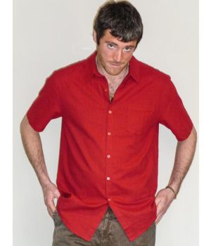 Organic Hemp & Cotton Short Sleeve Shirt - Red