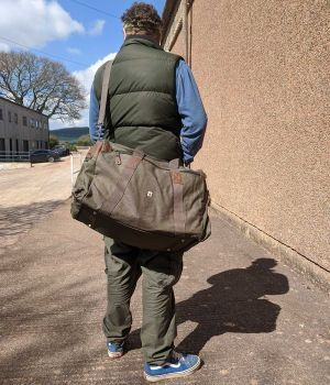 Sustainable Organic Hemp Holdall - 54L - Army Khaki (On person)