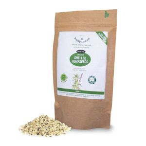 Hempiness Organic Premium Shelled Hempseeds 500g Pictured With Loose Hemp Hearts