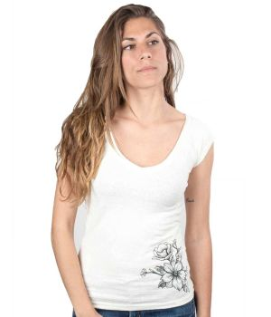 V Neck Sleeveless Hemp T Shirt - Tattoo Flowers
