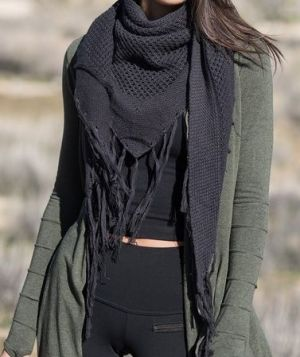 Hemp Triangle Tassel Scarf - Black