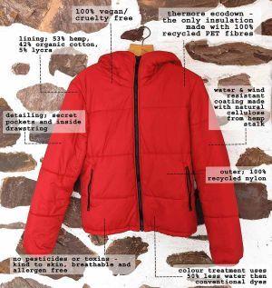 Ladies' Hoodlamb High Collar Puffer - Red