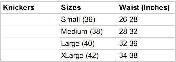 Hemp Knickers Size Chart