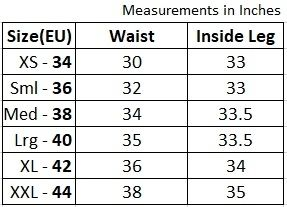 Womens sustainable flared trousers size chart